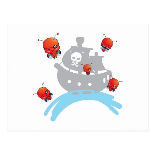 Postal de las mariquitas del pirata