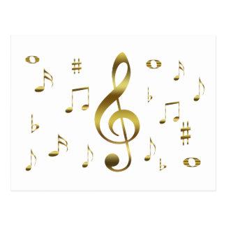 Postal de las notas musicales del oro
