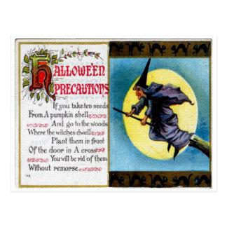 Postal de las precauciones de Hallowe'en