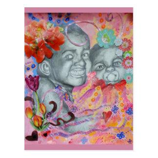 Postal de los bebés de la flor