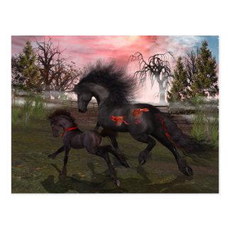 Postal de los caballos del navidad