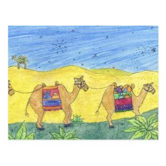 Postal de los camellos del navidad