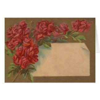 Postal de los capullos de rosa del vintage tarjeta de felicitación
