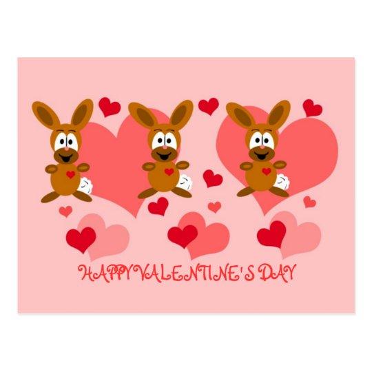 Postal de los conejitos del el día de San Valentín