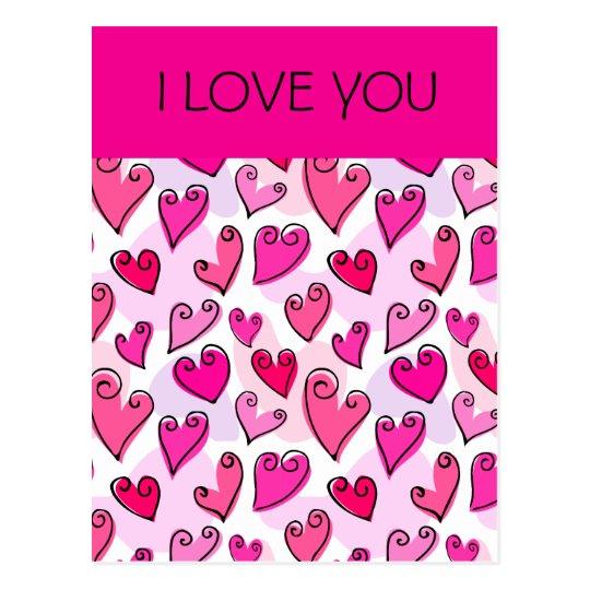 Postal de los corazones de la tarjeta del día de