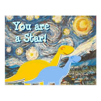 Postal de los dinosaurios de la noche estrellada