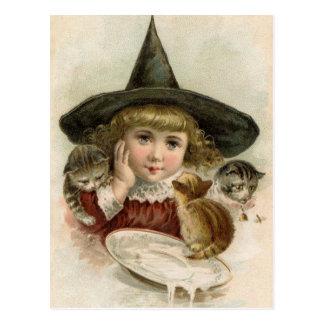 Postal de los gatitos de la bruja del chica del