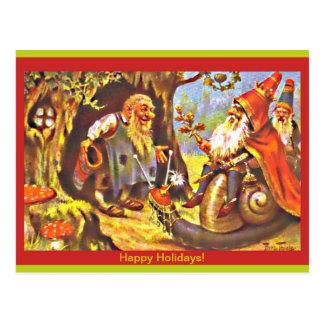 Postal de los gnomos del navidad del vintage