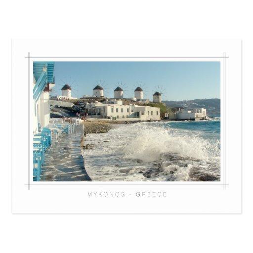 Postal de los molinoes de viento de Mykonos