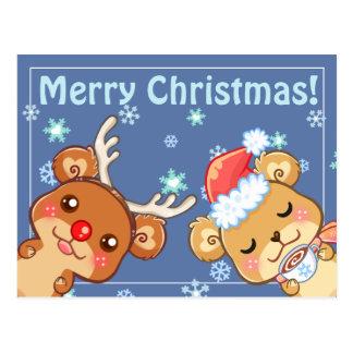 Postal de los osos de las Felices Navidad