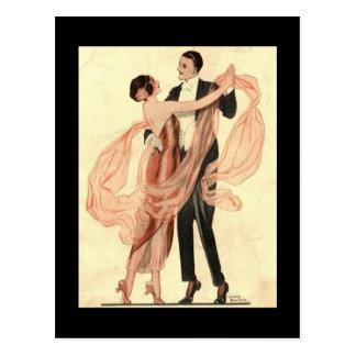 Postal de los pares del baile de Edwardian del