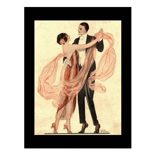 Postal de los pares del baile de Edwardian del vin