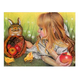 Postal de los polluelos y de los conejitos