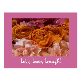 Postal de los rosas - viva, amor, risa