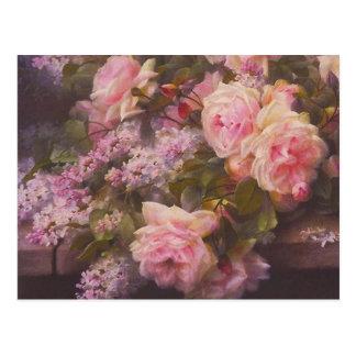 Postal de los rosas y de las lilas del rosa del