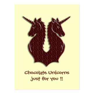 Postal de los unicornios del chocolate