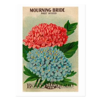 postal de luto del seedpacket de la flor del