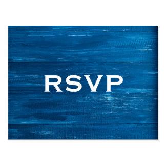 Postal de madera pintada azul de RSVP