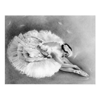 Postal de muerte del cisne de la bailarina