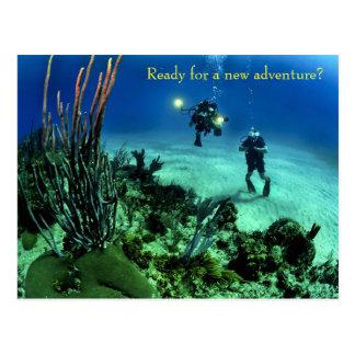 Postal De nuevo a aventura del salto del mar profundo de