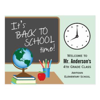 Postal De nuevo a tiempo de la escuela profesor
