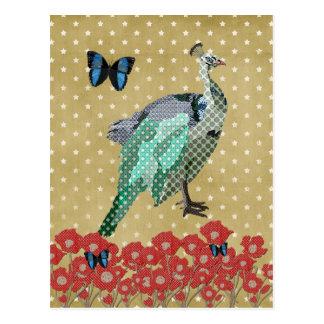 Postal de oro pintada del pavo real y de la estrel