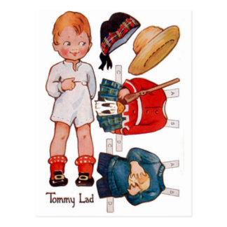 Postal de Paperdoll Little Boy Tommy del vintage