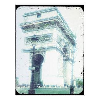 Postal de París del estilo del vintage, el Arco
