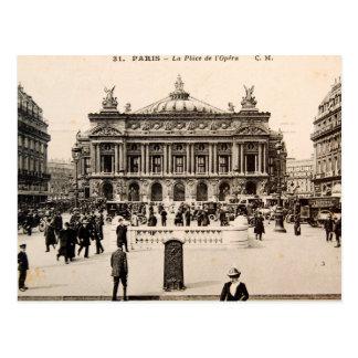 Postal de París del vintage, el teatro de la ópera
