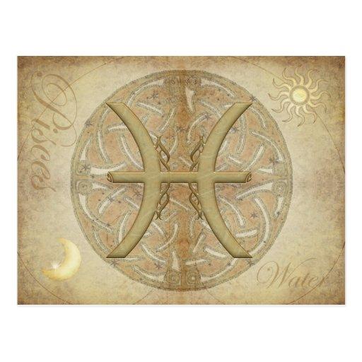 Postal de Piscis de la muestra del zodiaco