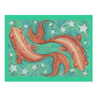 Postal de Piscis del zodiaco