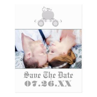 Postal de plata de la foto del boda del carro de