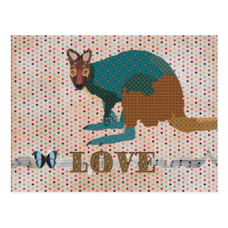 Postal de Pokadot del amor del Wallaby del oro