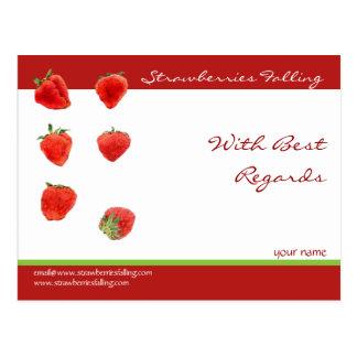 Postal de recuerdos de las fresas que cae
