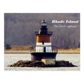Postal de Rhode Island del faro de la playa del
