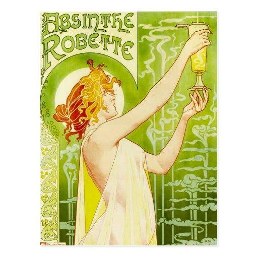 Postal de Robette del ajenjo de Alfonso Mucha