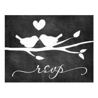 Postal de RSVP del corazón de los pájaros de la