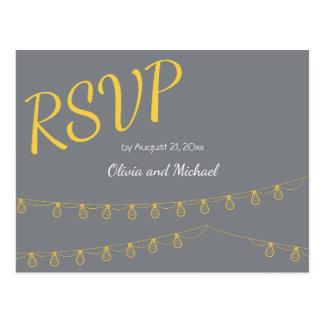 Postal de RSVP para casarse en amarillo y gris