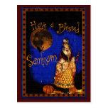 Postal de Samhain de la bruja del vintage