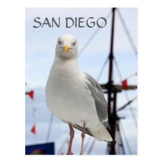 Postal de San Diego, de la gaviota y del barco