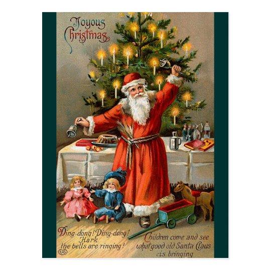 Postal de Santa y de los juguetes