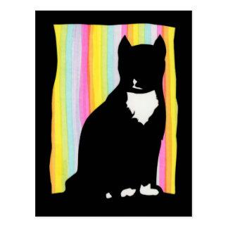 Postal de Sihouette del gato negro