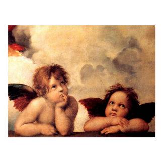 Postal de Sistine Madonna de las querubes de