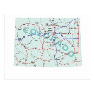 Postal de un estado a otro del mapa de Colorado