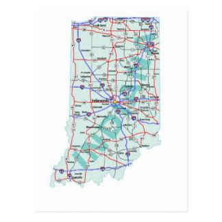 Postal de un estado a otro del mapa de Indiana