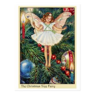 Postal de un hada en el árbol de Navidad