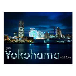 Postal De Yokohama Minatomirai con el puerto Japón de la