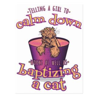 Postal Decir a un chica calmar abajo es como el bautismo