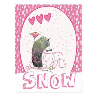 Postal Dejáis le nevar navidad lindo del pingüino del |