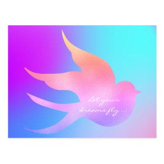 Postal Deje su pájaro azul rosado de motivación de la